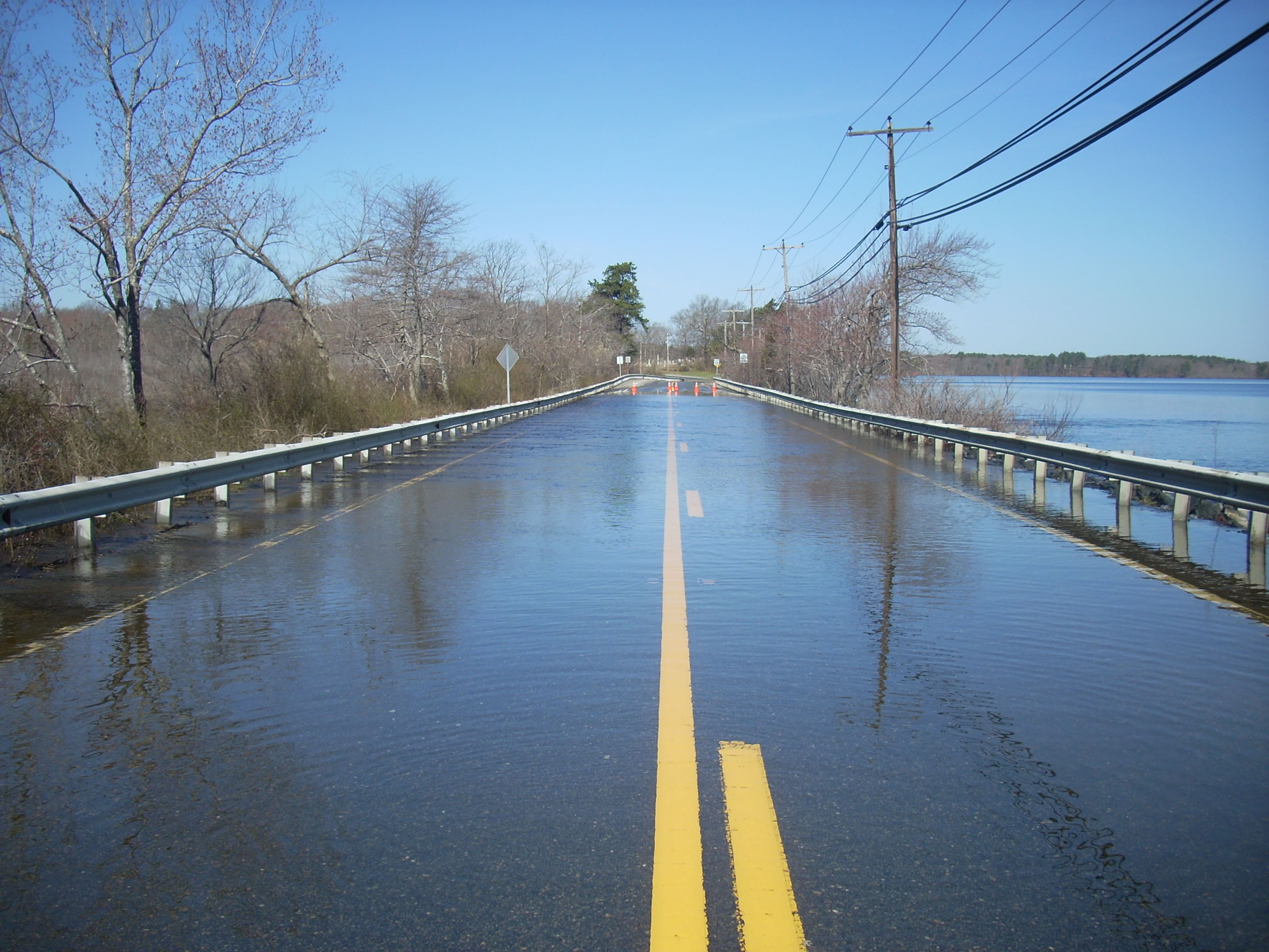 Photo shows 9 inches of water on road in Lakeville - Flood 2010