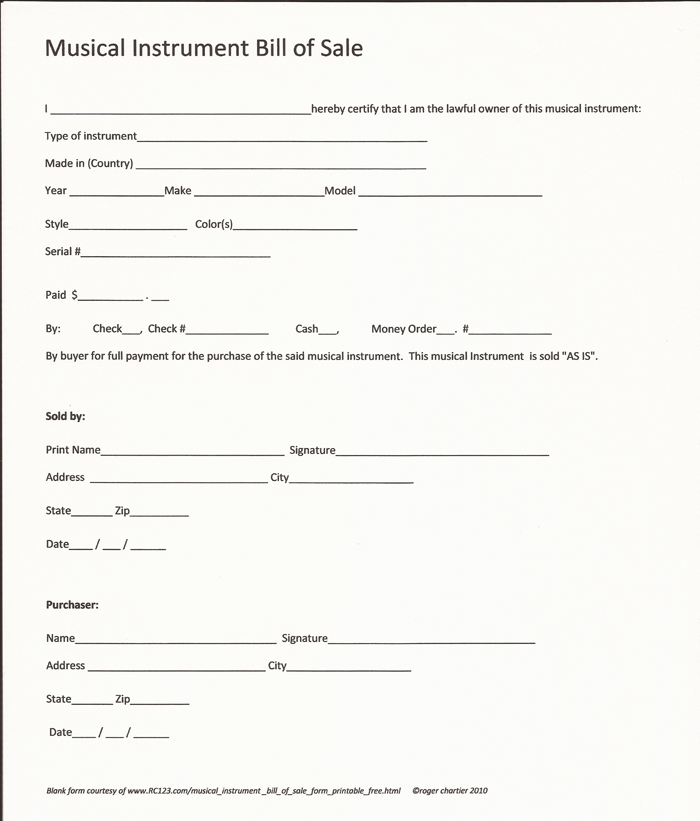 Musical Instrument Bill Of Sale Form  Printable  Free RcCom